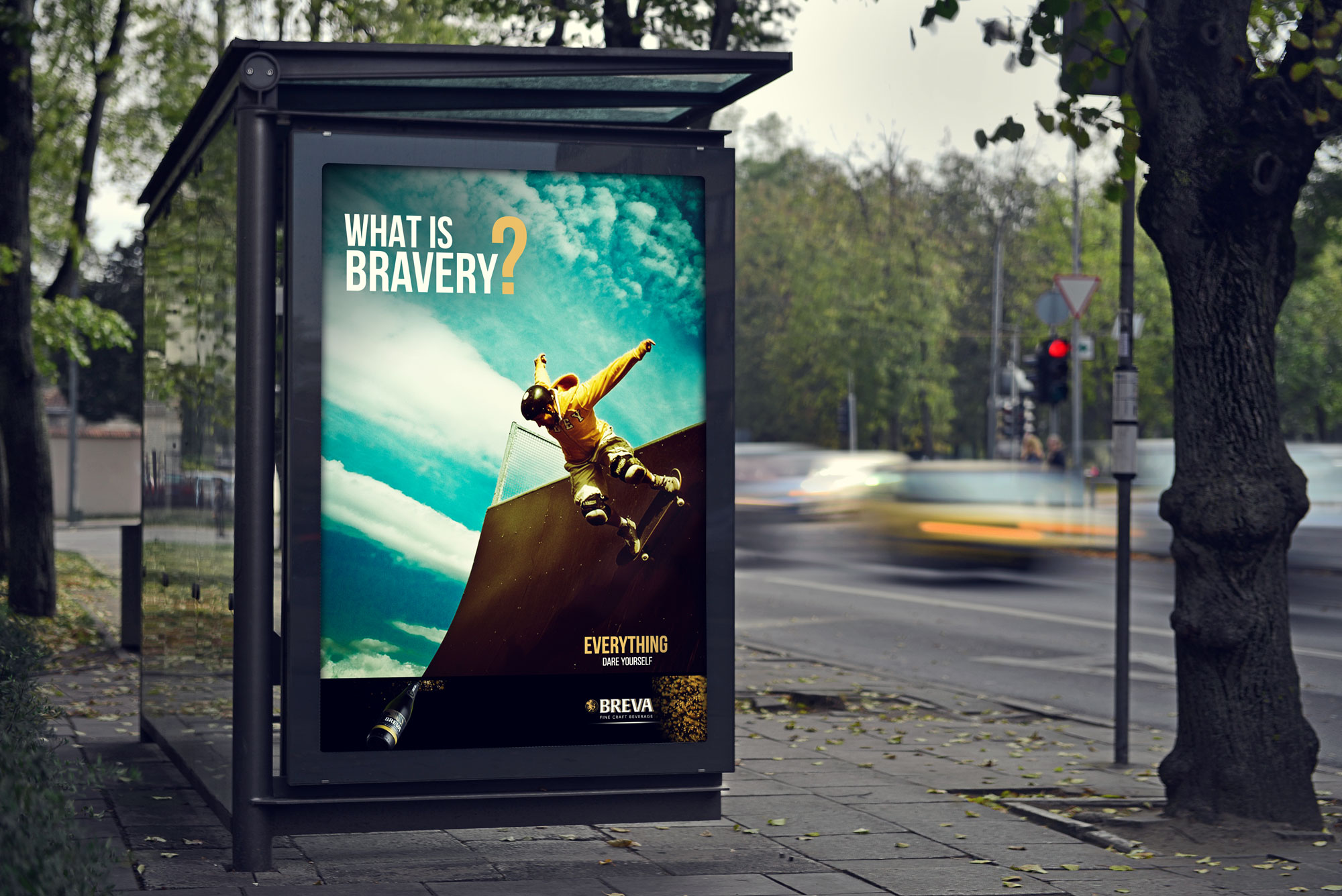 Poster design applied to a bus shelter